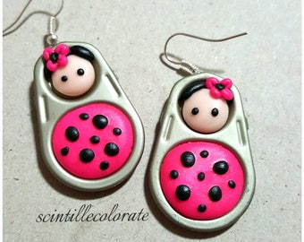 Fuchsia and black Matryoshka handmade earrings