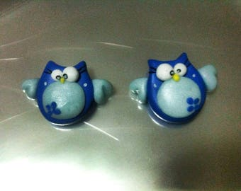 earrings with owls blue