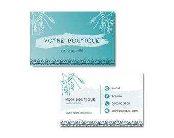 Carte De Visite Boho Chic Design Plumes Turquoise
