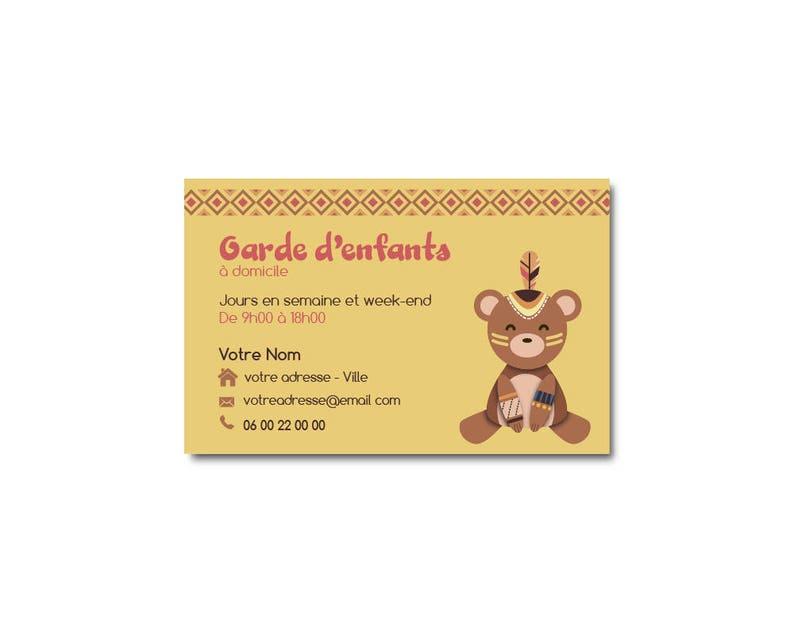 Carte De Visite Ourson Indien Garde DEnfants