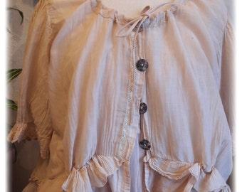 Bohemian vest, cotton silk voile, lace of ample Valencian