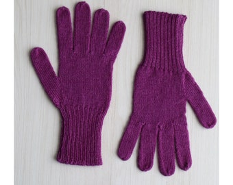 Fingered Gloves 100% alpaca for men and women, color purple