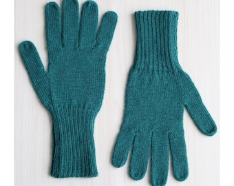 Fingered Gloves 100% alpaca for men and women, color dartmouth green