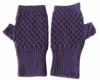 Wrist warmers hand knitted, fingerless gloves, with honeycomb pattern, alpaca blend