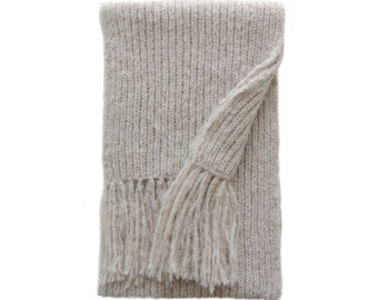 Long winter scarf rib knitted in a soft light  alpaca blend with long fringes, soft beige, handknitted fair trade