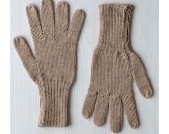 Fingered Gloves 100% alpaca for men and women, color beige