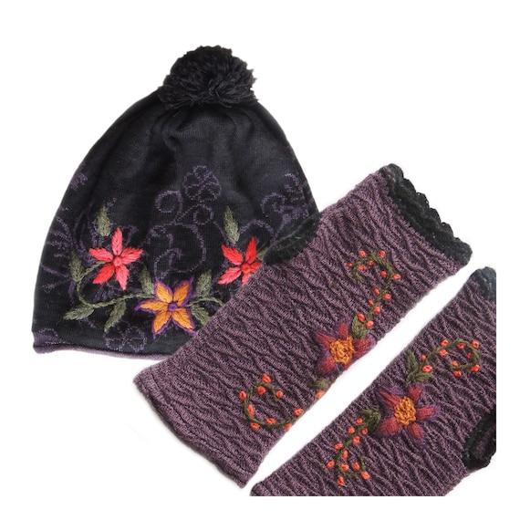 f2451a9aca5e9 Beanie Gloves women s gift set. hat fingerless gloves