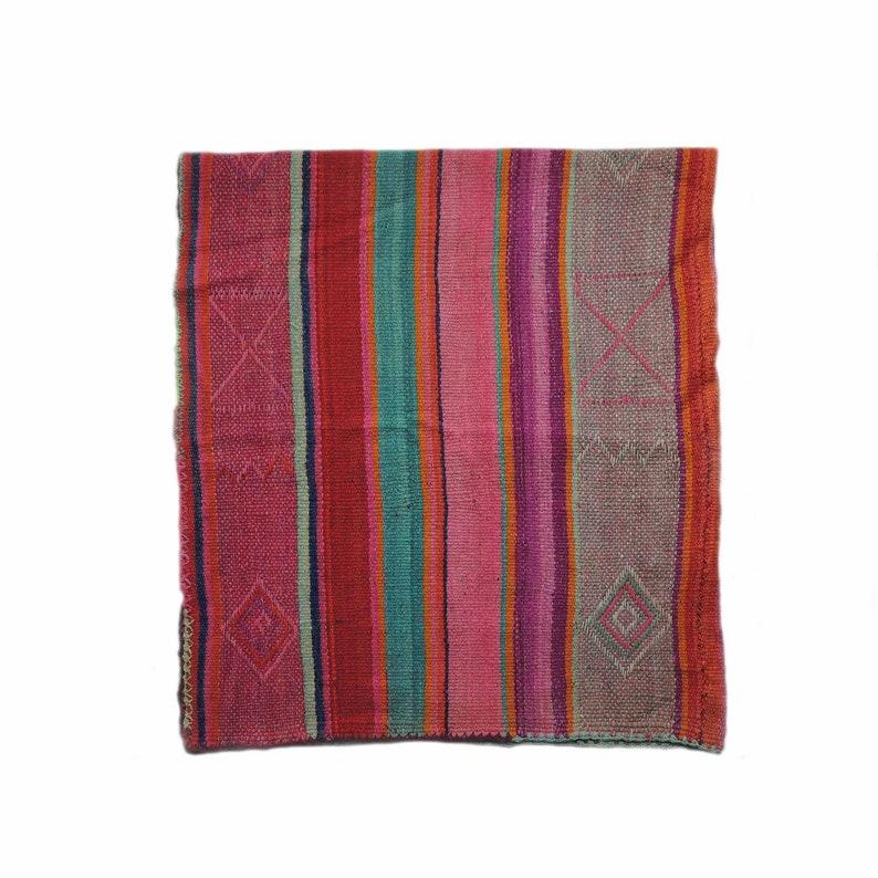Peruvian frazada rug handwoven natural woolen blanket Frazada with colorful design
