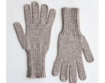 Fingered Gloves 100% alpaca for men and women, color taupe light