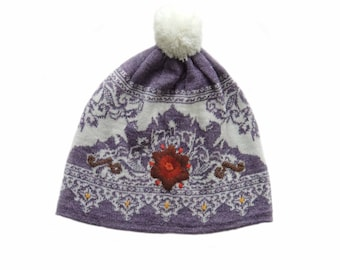 Women's beanie / hat  white - lilac with pompon and embroidered details, alpaca blend