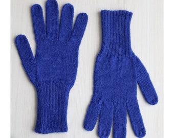 Fingered Gloves 100% alpaca for men and women, color royal blue