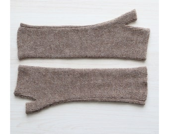 Fingerless gloves / wrist warmers long 100% alpaca, color taupe