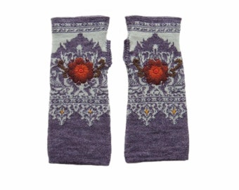 Wrist warmers fine jacquard knitted, fingerless gloves with embroidered flower detail,alpaca blend