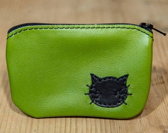 Lime green cat pattern leather wallet
