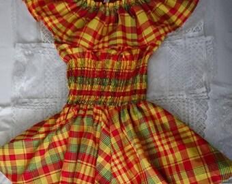 c363afb1398 Robe femme en madras et smock