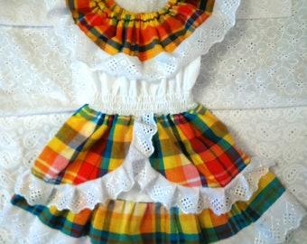584a80ee3d3 Robe fille en madras coton dentelle et smock