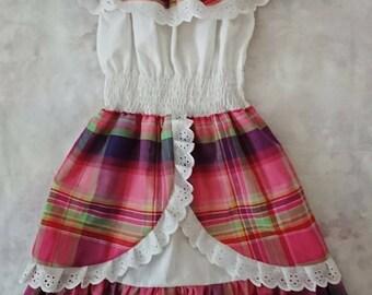 9b45556d810 Robe femme en madras coton dentelle et smock