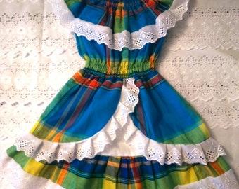 15d987bf947 robe fille en madras dentelle et smock