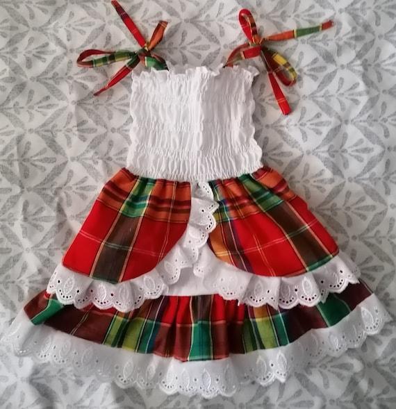 Robe fille en madras coton dentelle et smock