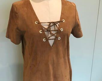 70s suede mini dress