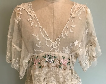 1940s French lace and floral top