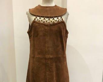Vintage suede 1960's Dress with Contemporary Neckline