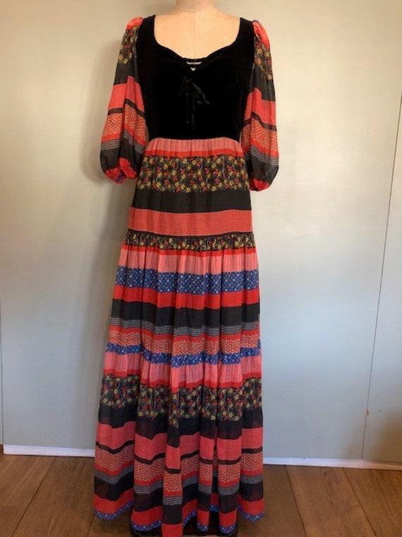 Kati 1970's tiered print peasant maxi dress
