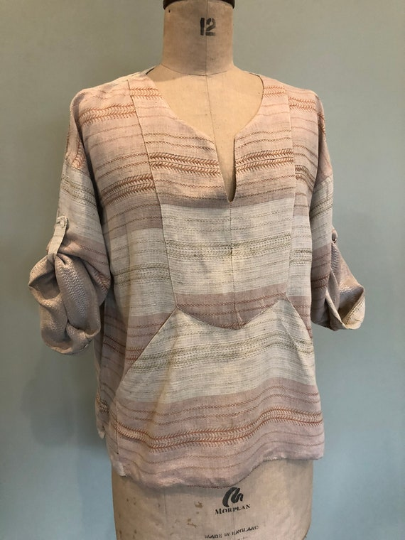 70s French, woven cotton blouse