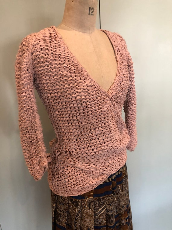 1970s pink crossover silk knit