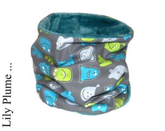 Gray monsters and marciens kids neck warmer cowl
