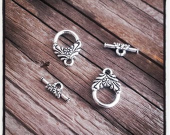 set of 2 flower METAL TOGGLE clasp silver
