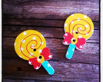 set of 2 lollipop Lollipop shape wooden buttons star 33 x 20 mm 2 holes