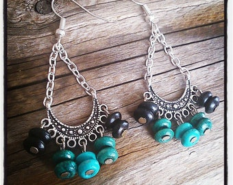 ethnic earrings silver and blue and turquoise wooden beads