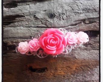 Pink flower Barrette, wedding, vintage wedding hair accessory