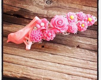 Hair flowers accessory, pink wedding, vintage wedding hair