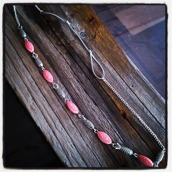 HeadBand bijoux de tête poisson argenté et perles filigrane rouge