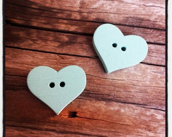 set of 2 heart turquoise wooden sewing buttons