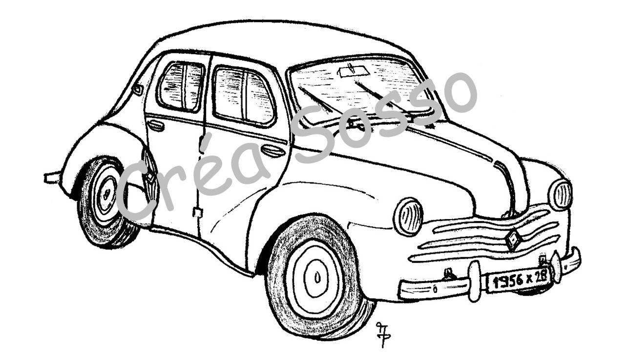 Porte cl s dessin voiture ancienne renault 4cv etsy - Dessin renault ...