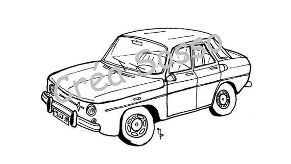 Porte-clès Dessin Voiture Ancienne Renault 8