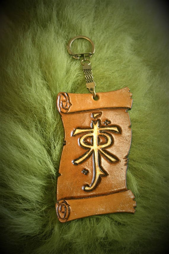 LOTR elven bag charm, luggage, key giant JRR Tolkien scroll shape logo embossed leather