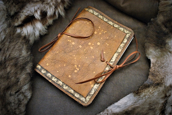 Leather Book cover, for mini journal , pocket notes, fantasy, fairy