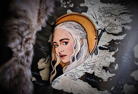 Carnet Coeur album journal fan de Game of thrones en cuir Repoussé double face Jon Snow Daenerys Targaryen A song of ice and fire