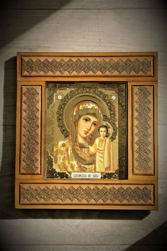 Icon, Virgin mary, Madonna, with embossing leather, Christian religion