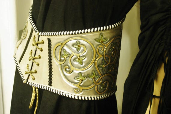 medieval leather belt, corset,  embossing leather, hand tooled, unique, fantasy, for woman, bride, size S