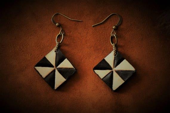 Leather earrings, geometrical, black and white jewel