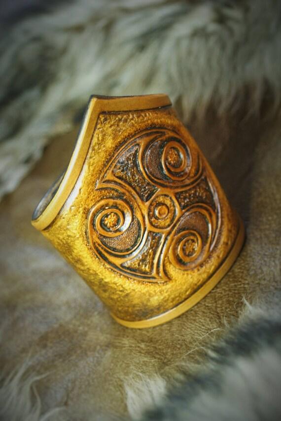Ancient Celtic viking cuff mens tooled leather bracelet