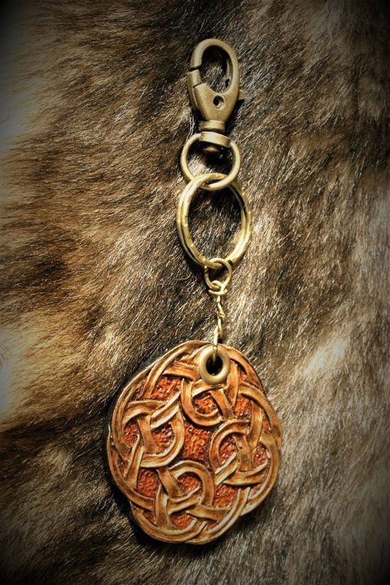 Celtic embossed leather key fob luggage bag charm