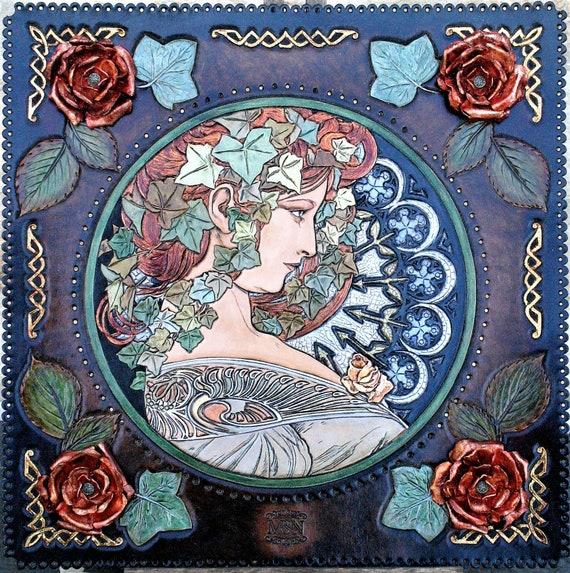 Art portrait, art nouveau, alphonse mucha, paris, art reproduction, carved leather, real gold and metal leaves