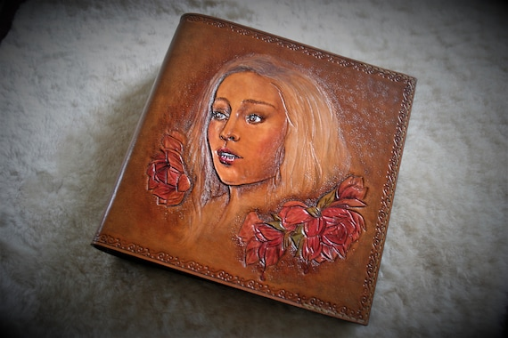 Leather planner, leather ring binder, leather book, album, embossing leather,  woman portrait