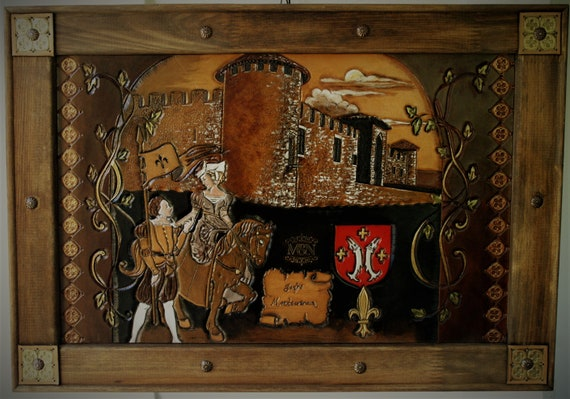 carved leather painting,  tapestry, illustration, medieval castle, fantasy renaissance inspired, once upon a time, history tail